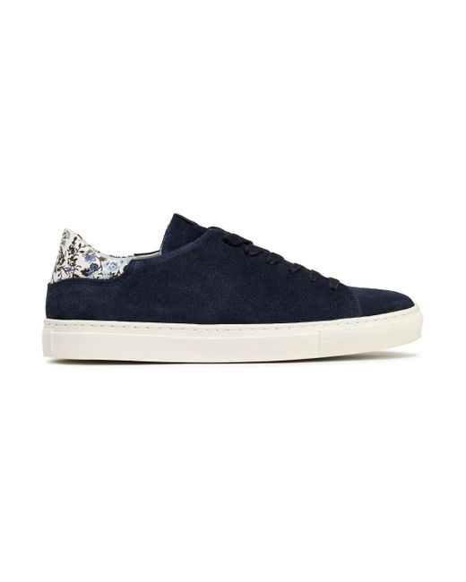 Claudie Pierlot - Blue Floral-print Leather -trimmed Suede Sneakers - Lyst