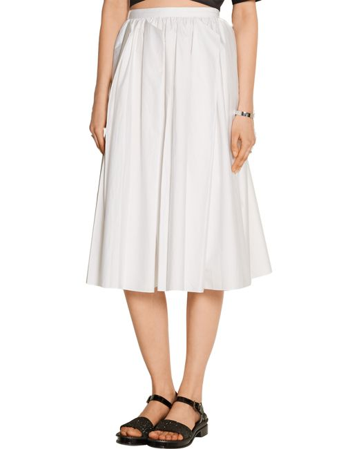 tibi pleated cotton poplin midi skirt in white save 60