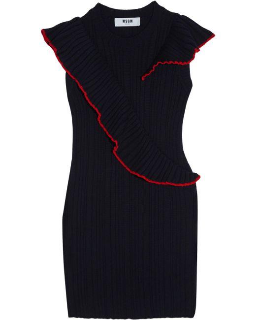 MSGM - Blue Ruffle-trimmed Ribbed Wool Mini Dress - Lyst