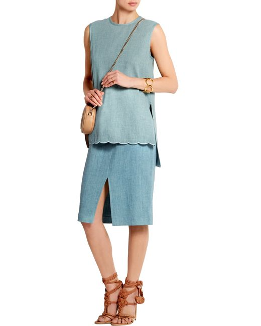 adam lippes denim pencil skirt in blue light denim