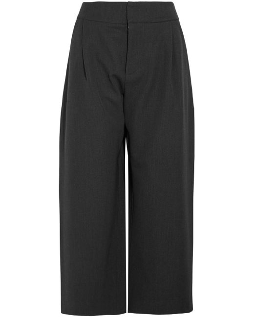 Marni - Gray Cropped Pleated Wool-blend Twill Wide-leg Pants - Lyst