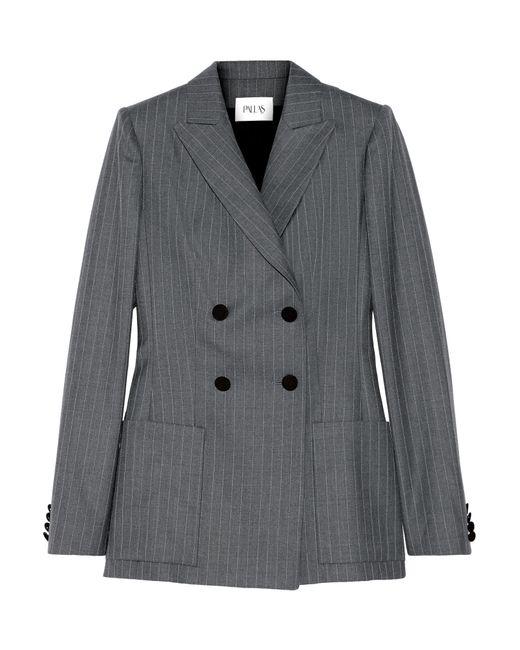 Pallas | Gray Junon Pinstriped Double-breasted Wool Blazer | Lyst