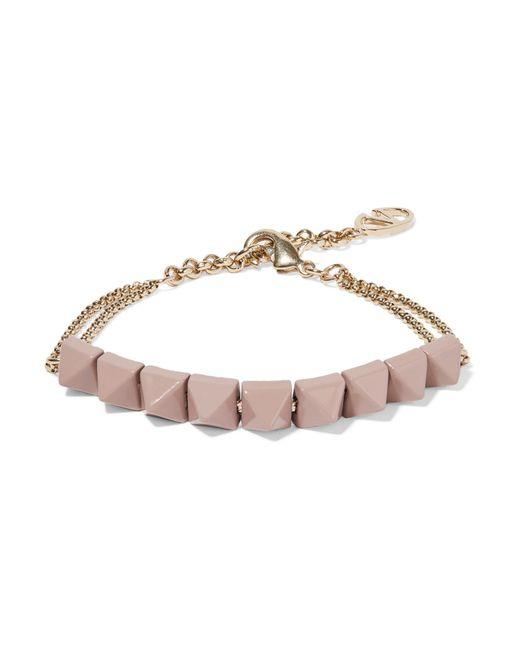 Valentino | Metallic Rockstud Enameled Gold-tone Bracelet | Lyst