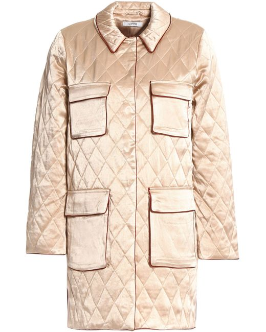 Ganni - Natural Quilted Satin Jacket - Lyst