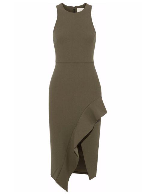 Cinq À Sept - Piper Asymmetric Ruffled Stretch-cady Dress Army Green - Lyst