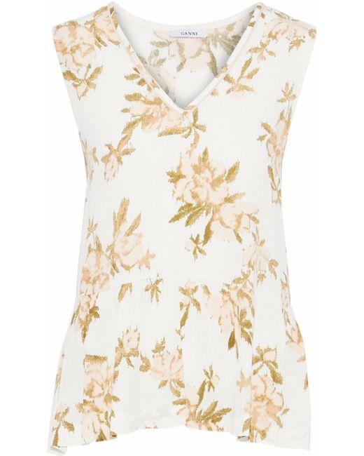 Ganni - White St. Pierre Floral-print Crepe Top - Lyst