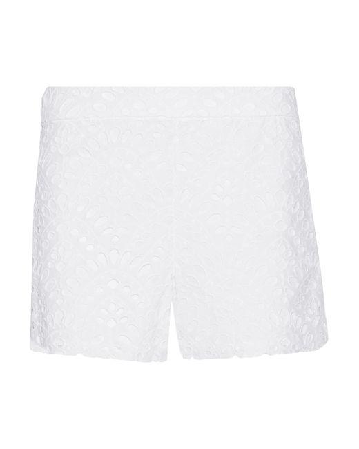 Alice + Olivia | White Eyelet Cotton Shorts | Lyst