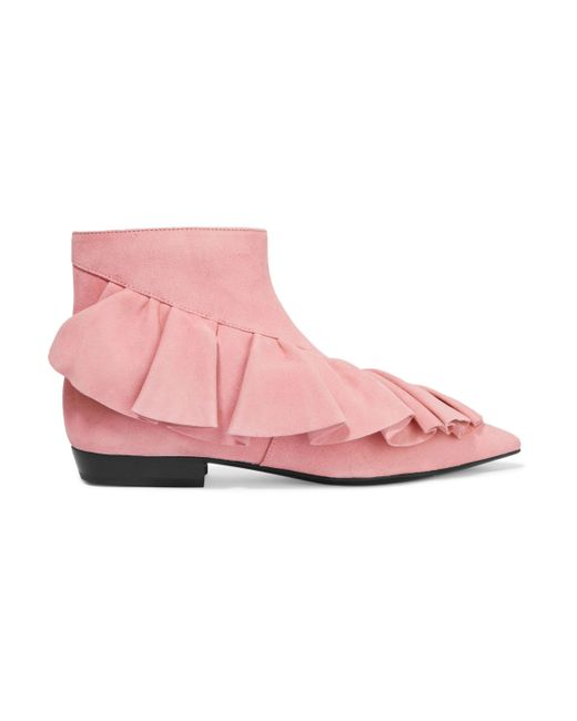 J.W. Anderson - Pink Woman Ruffled Suede Ankle Boots Bubblegum Size 38 - Lyst
