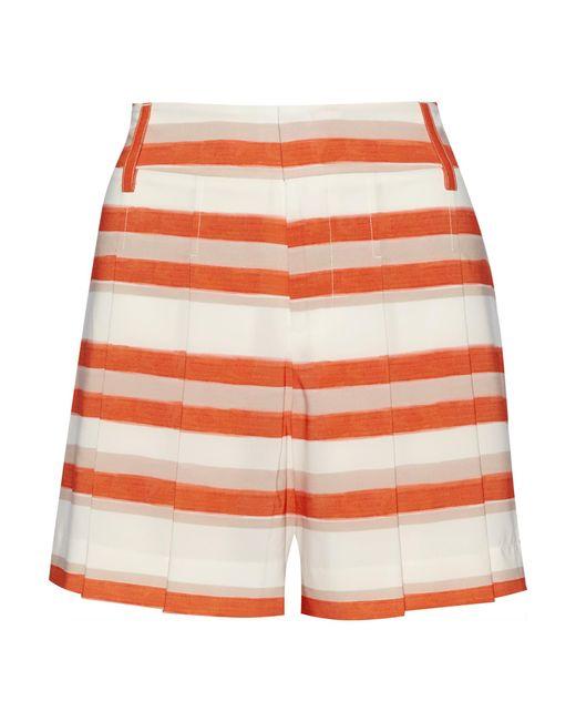 Alice + Olivia | Orange Flutter Striped Crepe De Chine Shorts | Lyst