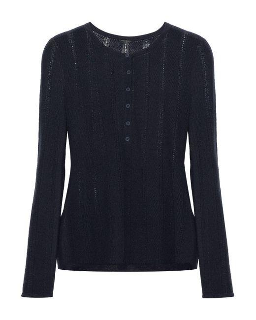 Elie Tahari - Blue Corette Pointelle-knit Wool-blend Top - Lyst