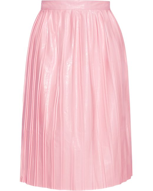 suno pleated faux leather skirt in pink baby pink save