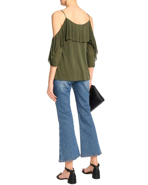 Bailey 44 Woman Cold-shoulder Ruffle-trimmed Modal-jersey Top Army Green Size S Bailey 44 Footlocker Finishline Buy Cheap Cheapest Discount Perfect Limited Edition Online Cheap Sale Genuine 2L0Hv