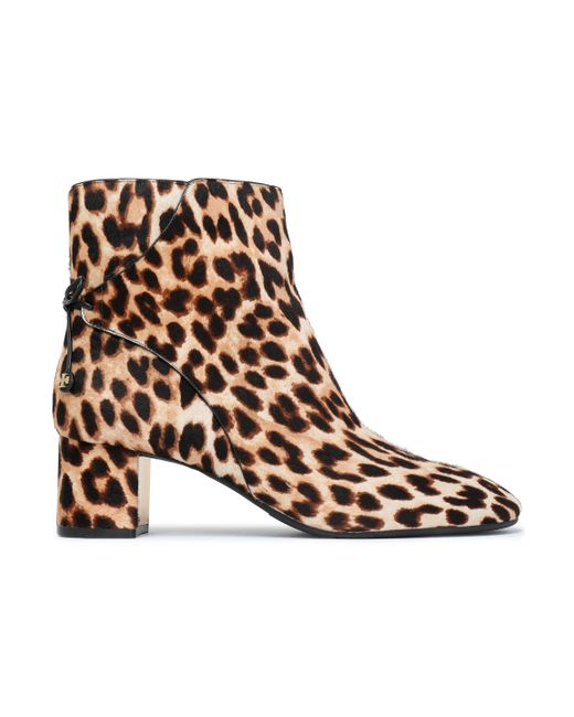Tory Burch - Brown Bow-detailed Leopard-print Calf Hair Ankle Boots Animal Print - Lyst