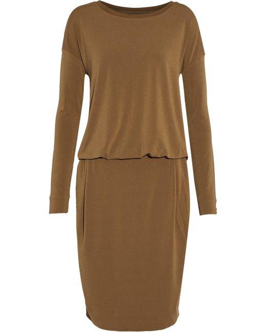 By Malene Birger - Cutout Draped Stretch-crepe Dress Light Brown - Lyst