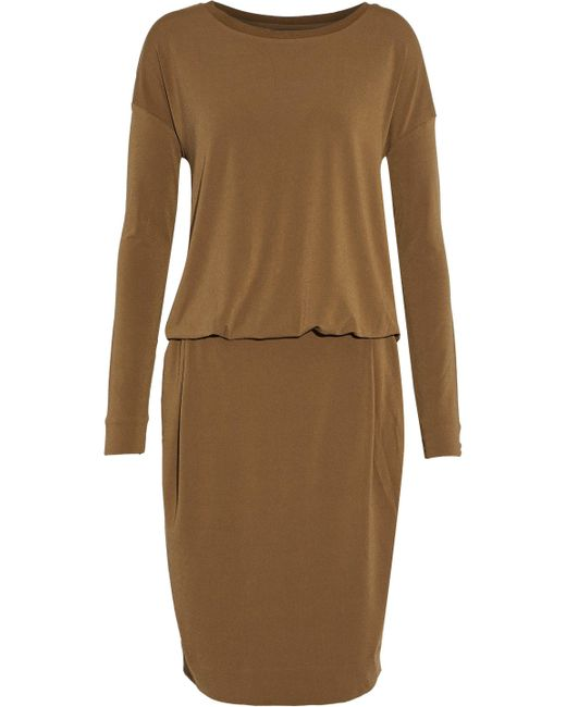 By Malene Birger - Brown Long-sleeved Knee Length Dress Twisted Back - Lyst
