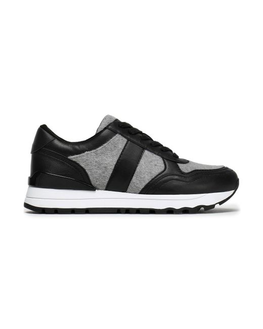 DKNY - Black Felt And Leather Sneakers - Lyst