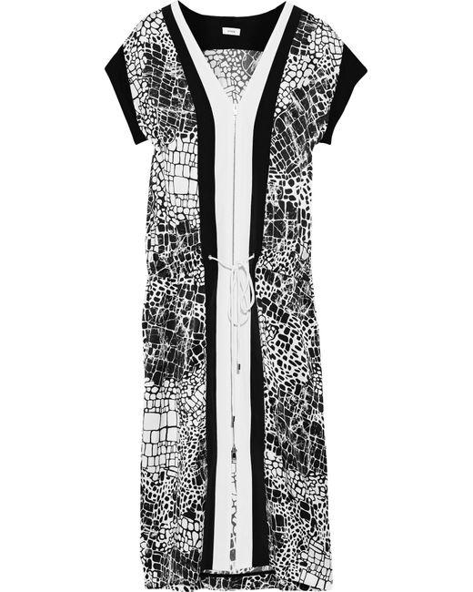 Vince | White Printed Silk-chiffon Dress | Lyst
