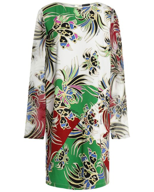 Just Cavalli - White Printed Crepe Mini Dress - Lyst
