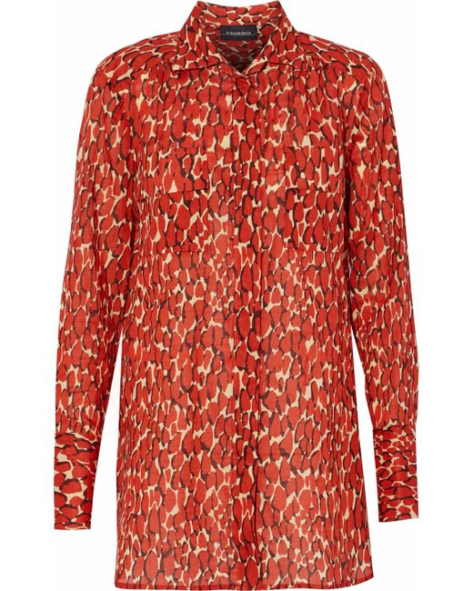 By Malene Birger - Red Printed Cotton-voile Shirt - Lyst