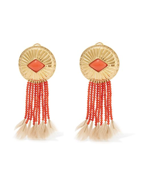Aurelie Bidermann | Multicolor Gold-plated, Coral And Feather Clip Earrings | Lyst