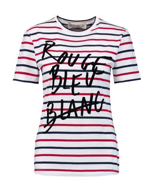 tre c cile rouge bleu blanc stripe t shirt in white lyst. Black Bedroom Furniture Sets. Home Design Ideas