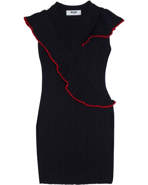 MSGM | Blue Ruffle-trimmed Ribbed Wool Mini Dress | Lyst