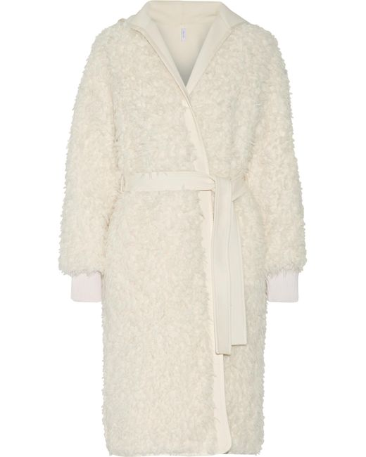 Helmut Lang   White Cotto Reversible Faux Shearling And Gabardine Coat   Lyst