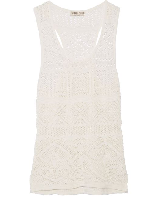 Emilio Pucci | White Crochet-knit Cotton-blend Tank | Lyst
