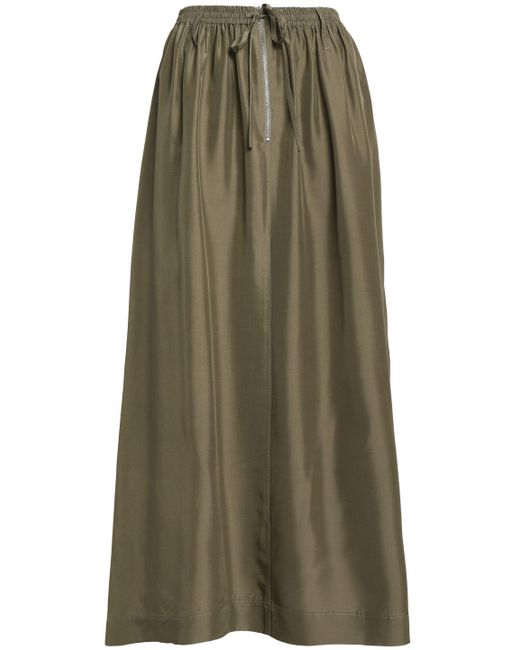 Joseph - Green Flint Gathered Silk-satin Midi Skirt - Lyst