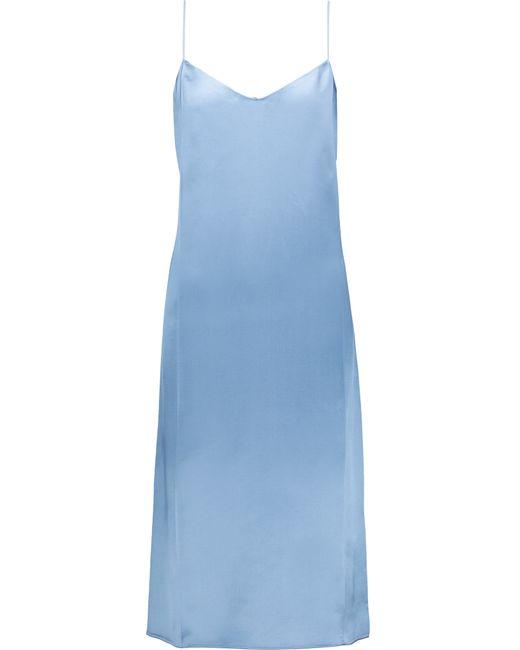 Nina Ricci | Blue Silk Georgette-trimmed Satin Midi Dress | Lyst