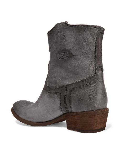 frye carson textured leather ankle boots in