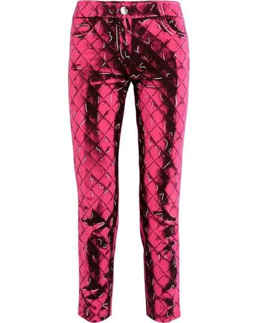Moschino - Pink Printed Crepe Slim-leg Pants - Lyst