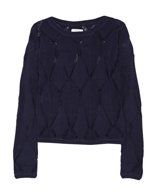 MILLY | Blue Pointelle-knit Cotton-blend Sweater | Lyst