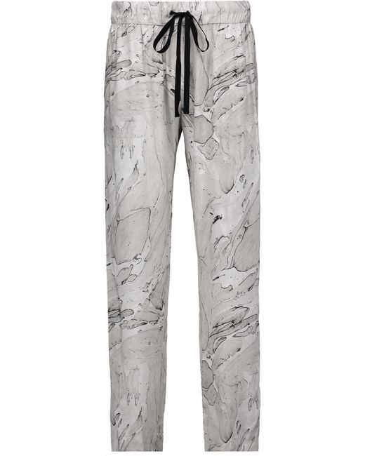 Enza Costa | Gray Printed Voile Tapered Pants | Lyst