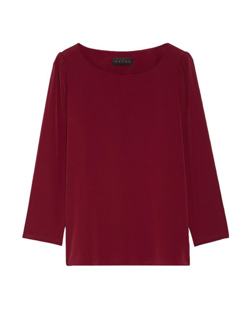 HATCH - Woman Gathered Crepe De Chine Top Burgundy - Lyst