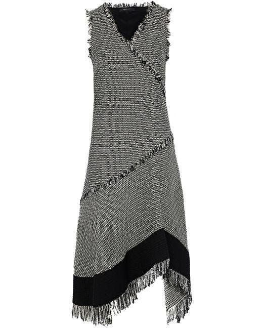 Derek Lam - Black Sleeveless Asymmetrical Dress W/ Fringe Detail - Lyst