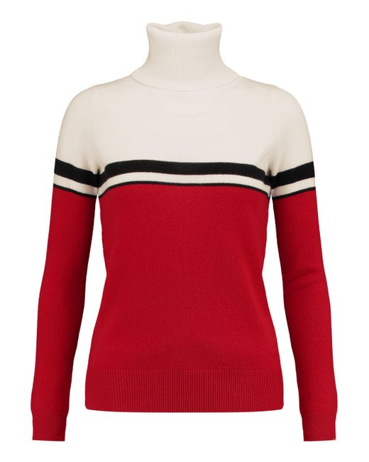 Madeleine Thompson - White Vidos Intarsia Wool And Cashmere-blend Turtleneck Sweater - Lyst