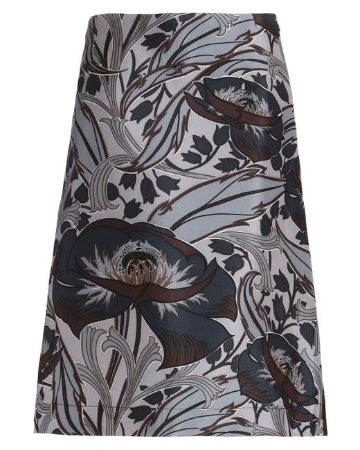 Marni - Woman Floral-print Cotton And Silk-blend Skirt Gray - Lyst