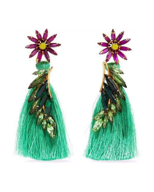 Elizabeth Cole - Green 24-karat Gold-plated, Swarovski Crystal, Stone And Tassel Earrings - Lyst