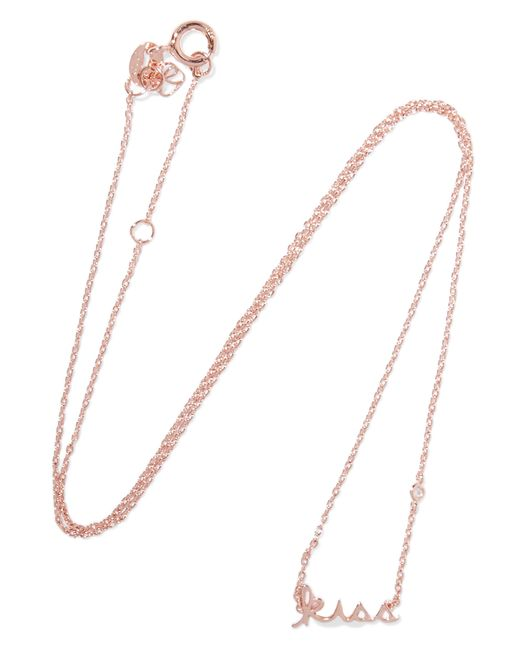 Shy By Sydney Evan | Metallic Kiss Rose Gold-plated Diamond Necklace | Lyst