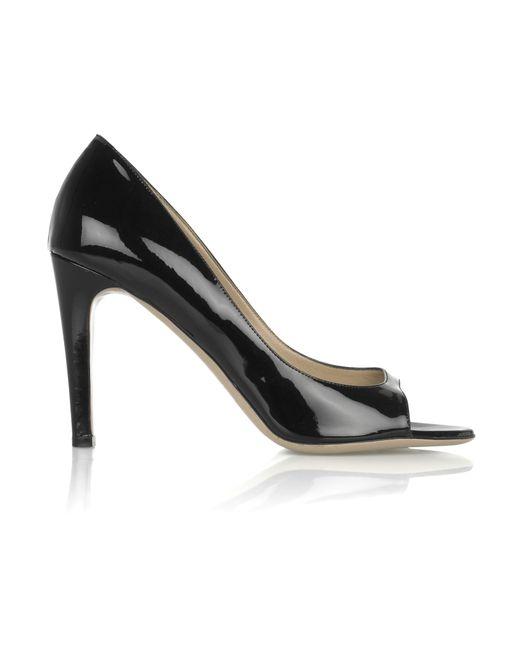 Valentino | Black Patent-leather Open-toe Pumps | Lyst