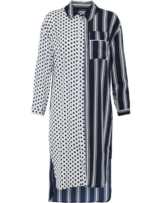 W118 by Walter Baker - Blue Nancy Paneled Ruffle-trimmed Printed Crepe De Chine Shirt Dress - Lyst