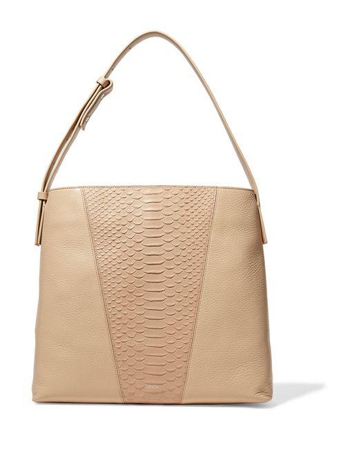 Vince   Natural Python Effect-paneled Leather Shoulder Bag   Lyst