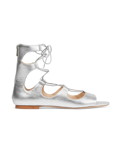 Loeffler Randall | Multicolor Dani Lace-up Metallic Leather Sandals | Lyst