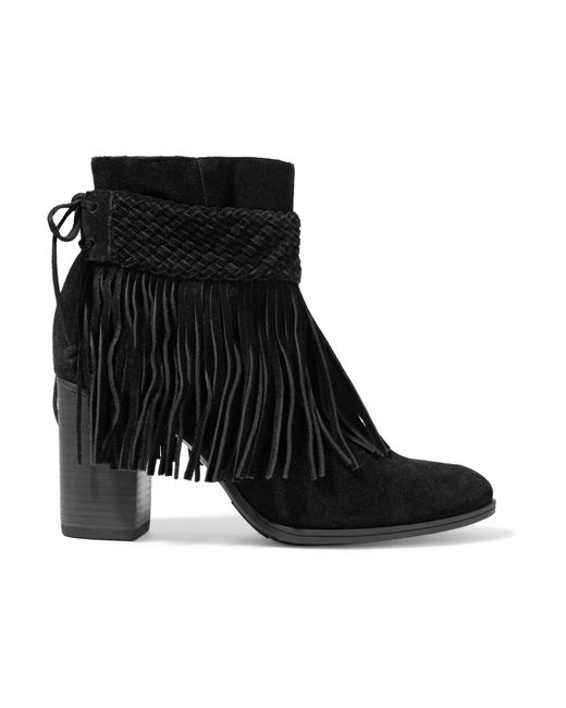 schutz fringed suede ankle boots in black lyst