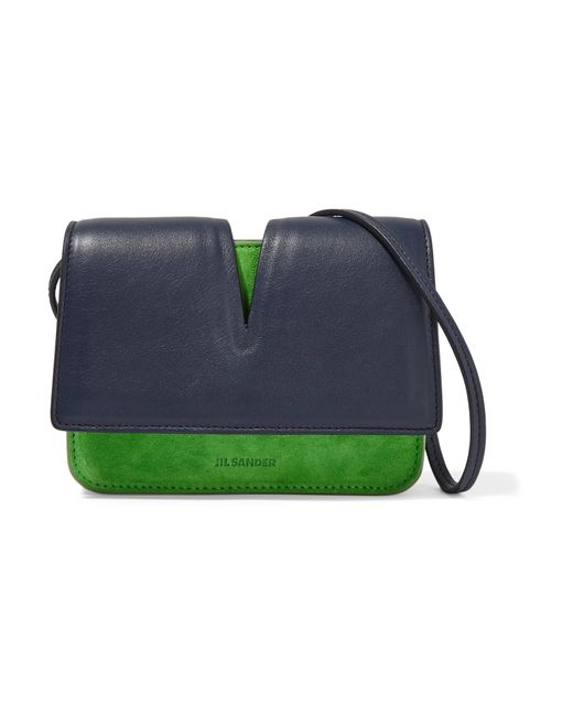 Jil Sander | Green Micro Cutout Leather And Suede Shoulder Bag | Lyst