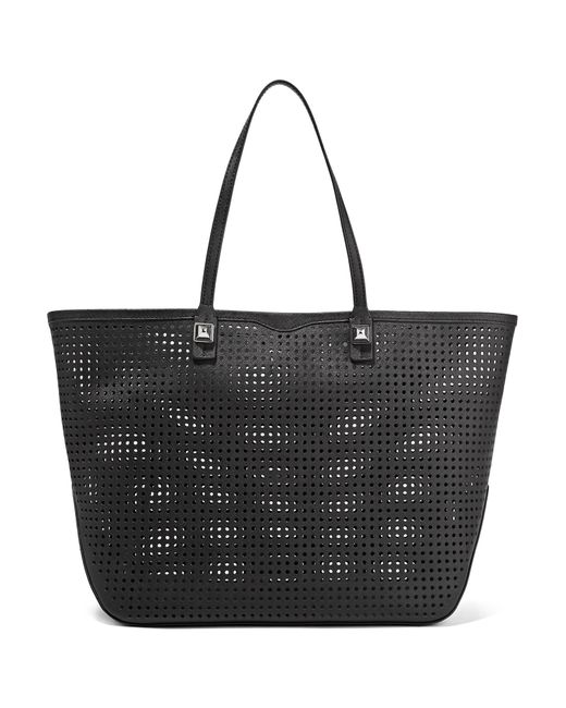 Rebecca minkoff Studded Perforated Leather Tote in Black ...