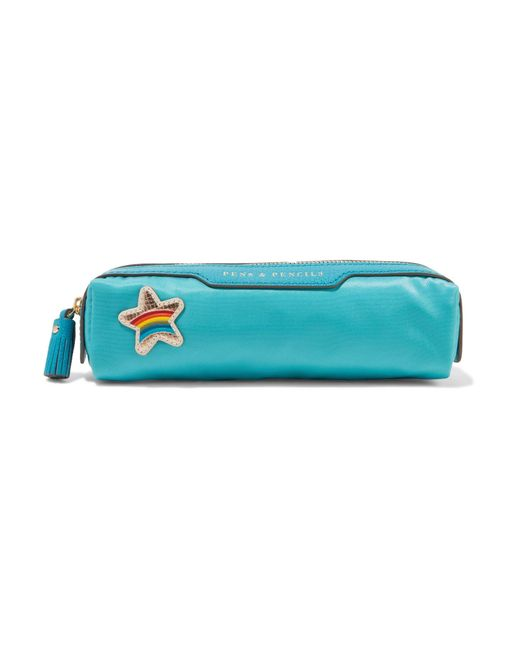 Anya Hindmarch   Blue Embellished Leather-trimmed Shell Pencil Case   Lyst