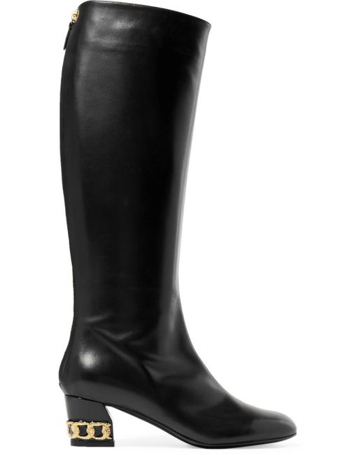 Casadei - Black Embellished Leather Knee Boots - Lyst