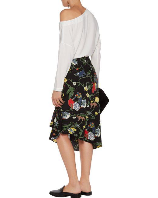 Tibi Seville Asymmetric Floral-print Silk Midi Skirt in Black | Lyst